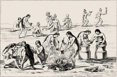 Índios fazendo Cauim